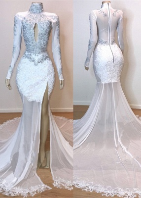 Stunning White Lace Long Sleeve Prom Dress | 2020 Mermaid Sheer Evening Gowns With Slit BC1180_1