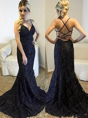 New Arrival Cross Straps Mermaid Sleeveless Prom Dress | Halter Sequins Sweep Train Evening Gown BC0718_1