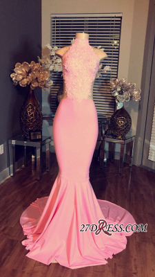Mermaid Pink Sleeveless High-Neck Lace Long Prom Dresses BA4981_1