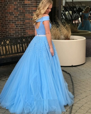 Blue Two-Piece 2020 Prom Dress | Off-The-Shoulder Tulle Evening Dresses With Beads BA9646_2