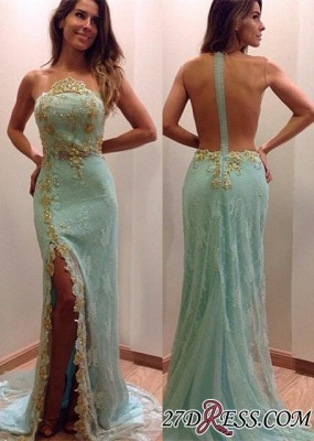 2020 Lace Stunning Zipper Sleeveless Appliques Split Evening Dress_2