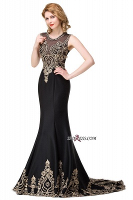 2020 Scoop Sleeveless New Mermaid Appliques Black Prom Dress_4