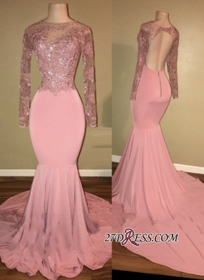 Pink 2020 prom dress, long sleeve lace evening gowns RM0_2