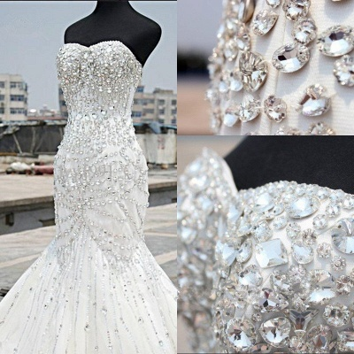 Gorgeous Crystals Mermaid Tulle Wedding Dress 2020 Sweetheart Sleeveless_3