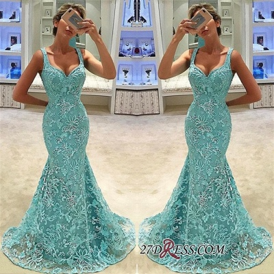 Elegant Lace Mermaid Prom Dresses | Straps Long Bridal Gowns_1
