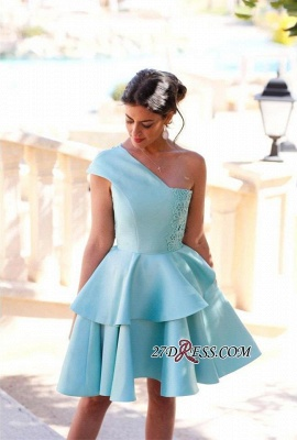 One-Shoulder Lace Shot Pretty Two-Layer Party Homecoming Dress_3
