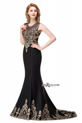 2020 Scoop Sleeveless New Mermaid Appliques Black Prom Dress_6