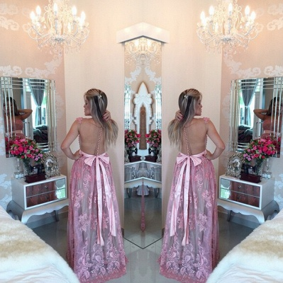 Glamorous Lace Appliques A-line Prom Dress 2020 Beadings Bowknot_3