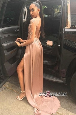 Gorgeous Long-Sleeves Applique A-Line Prom Gown | Sexy Backless Side Slit Long Prom Dress BC1767_1