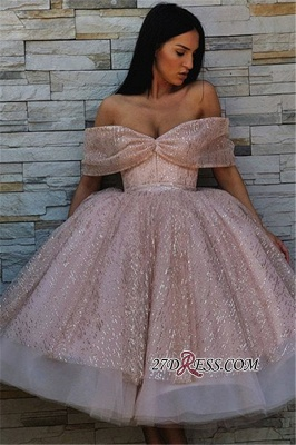 Off-The-Shoulder Sequins Short Chic Puffy Pink Short-Sleeves Prom Dresses_4
