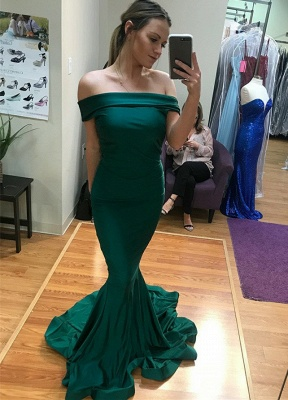 Sexy Green Off-the-Shoulder Evening Gowns | Floor Length Mermaid Prom Dress With Zipper_2