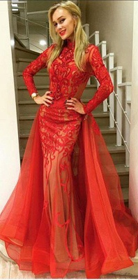 Sexy red Long Sleeve Evening Dress 2020 Tulle Mermaid Lace_1