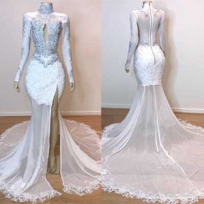 Stunning White Lace Long Sleeve Prom Dress | 2020 Mermaid Sheer Evening Gowns With Slit BC1180_2