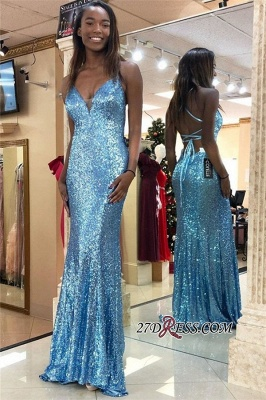 Sheath Sequins Open-Back Sexy Sleeveless Prom Dresses_1