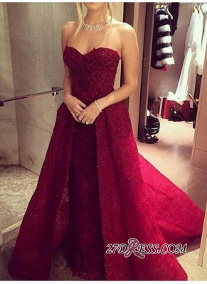 2020 Chic Sweetheart-Neck Burgundy Overskirt Long Lace-Beaded Prom Dresses LY121_3