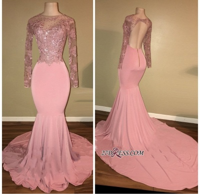Pink 2020 prom dress, long sleeve lace evening gowns RM0_1