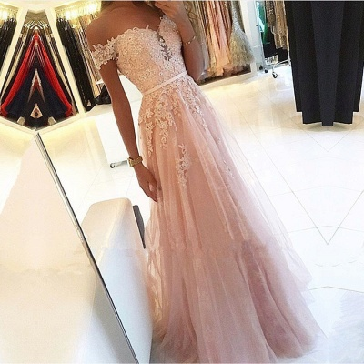 Charming Off-the-Shoulder Lace Prom Dresses | 2020 Tulle Long Evening Gowns BC0418_4