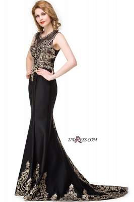 2020 Scoop Sleeveless New Mermaid Appliques Black Prom Dress_3