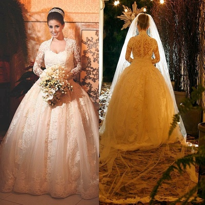 Modern Lace Long Sleeve 2020 Wedding Dress Ball Gown Button Zipper Back_4
