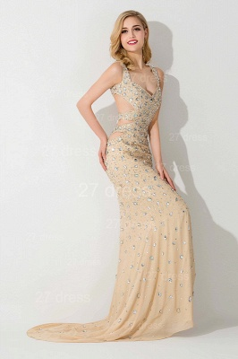 Sexy Straps Crystals Mermaid Evening Dress Front Split_2