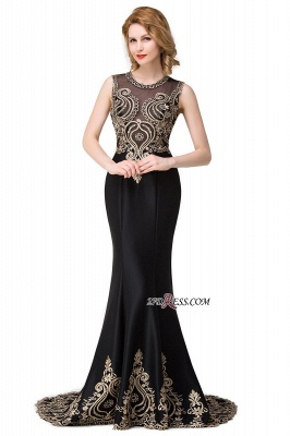 2020 Scoop Sleeveless New Mermaid Appliques Black Prom Dress_1