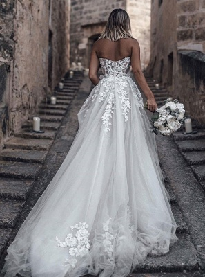 Gorgeous White Sweetheart Sleeveless 2020 Wedding Dress | Lace Appliques Princess Bridal Gown On Sale_2