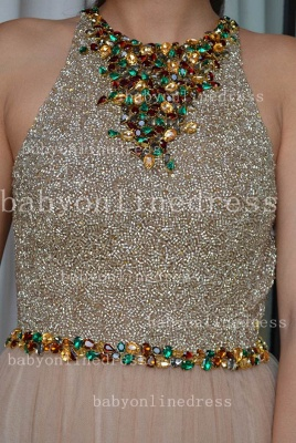 Sexy Elegant Vestido Formal Party Dresses Colorful A-Line Chiffon Crew Evening Dresses With Beaded Crystals_3