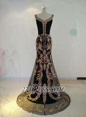 Sexy Black V-Neck Mermaid Prom Dress Beadings Crystals Sweep Train Evening Gowns_4