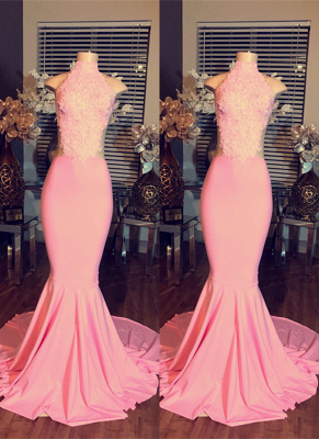 Mermaid Pink Sleeveless High-Neck Lace Long Prom Dresses BA4981_2