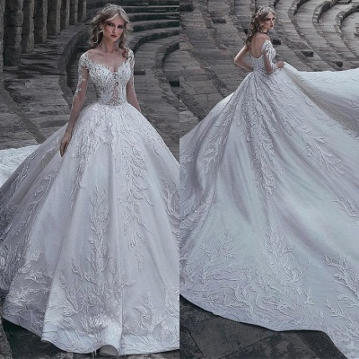 Luxurious Long Sleeve Lace Wedding Dresses   2020 Bridal Gowns_3