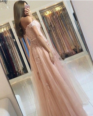 Charming Off-the-Shoulder Lace Prom Dresses | 2020 Tulle Long Evening Gowns BC0418_3