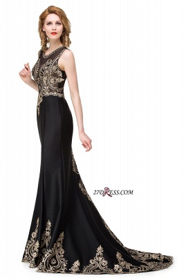 2020 Scoop Sleeveless New Mermaid Appliques Black Prom Dress_2