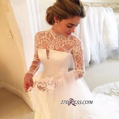High-Neck Elegant A-line Long-Sleeve Lace Zipper Wedding Dress_1