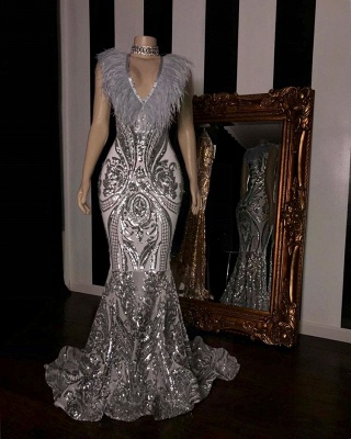 Chic Silver Sequins Mermaid Prom Dresses   2020 V-Neck Long Evening Gowns With Feather BC1554_2