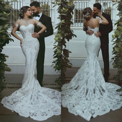 Glamorous Sweetheart Off-the-Shoulder Wedding Dress | Mermaid Bridal Gown With Lace On Sale_4