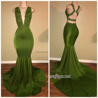 Gorgeous V-Neck Sleeveless 2020 Prom Dress Mermaid Long With Lace Appliques BA7993_1