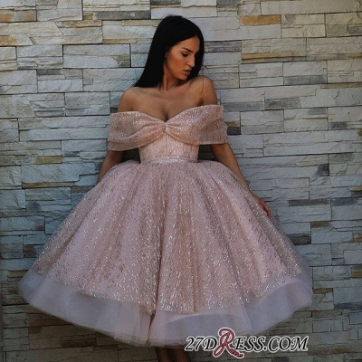Off-The-Shoulder Sequins Short Chic Puffy Pink Short-Sleeves Prom Dresses_3