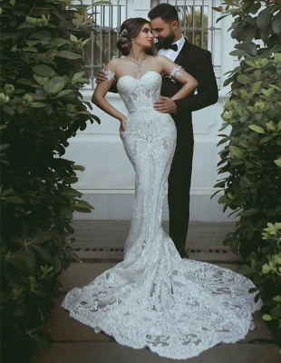 Glamorous Sweetheart Off-the-Shoulder Wedding Dress | Mermaid Bridal Gown With Lace On Sale_1