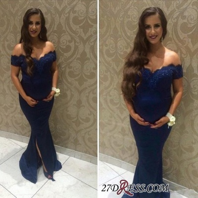Off-the-shoulder Maternity Newest Front-split Lace Beads Sweep-Train Prom Dress_2