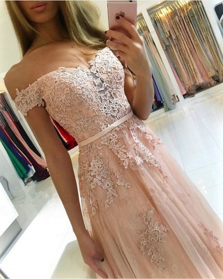 Charming Off-the-Shoulder Lace Prom Dresses | 2020 Tulle Long Evening Gowns BC0418_2