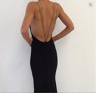 Modern Black Spaghetti Strap Prom Dress 2020 Front Split Open Back_3