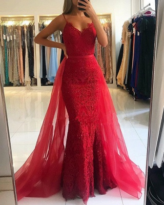 Gorgeous Spaghetti-Straps Lace Prom Dress | 2020 Mermaid Evening Gowns With Ruffles_5