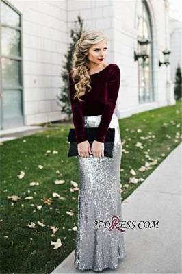 Sleeves Sequins Sheath Burgundy Latest Long Winter Silver Velvet Evening Dresses BA3601_1