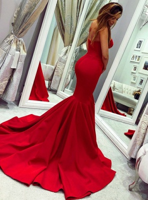 Glamorous Sweetheart Sleeveless Prom Dress | Red Mermaid Evening Gowns On Sale BC0445_3