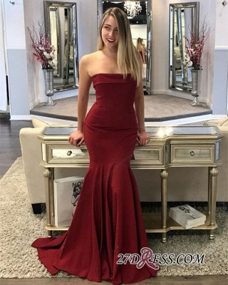Mermaid Long Burgundy Strapless Sweep Train Prom Dresses_3