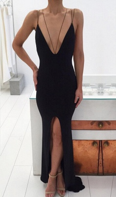 Modern Black Spaghetti Strap Prom Dress 2020 Front Split Open Back_1