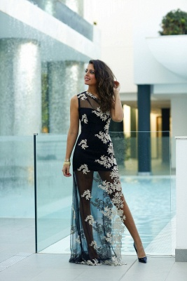 Sexy Tulle Appliques Bodycon Prom Dress 2020 One Shoulder Sweep Train_2