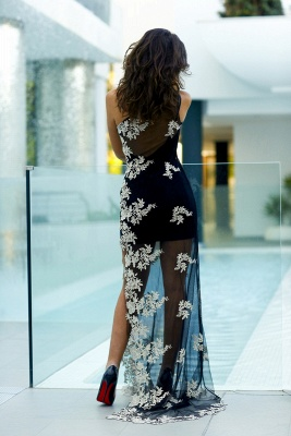 Sexy Tulle Appliques Bodycon Prom Dress 2020 One Shoulder Sweep Train_5