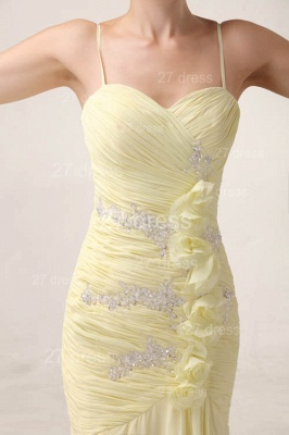 Elegant Yellow Mermaid Evening Dresses 2020 Spaghetti Straps Beadings Prom Gowns_3