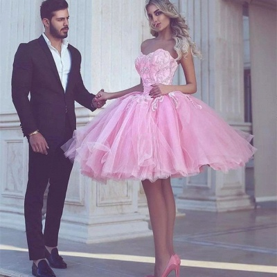 Short Appliues Pink Sweetheart-Neck Ball-Gown Homecoming Dresses_3
